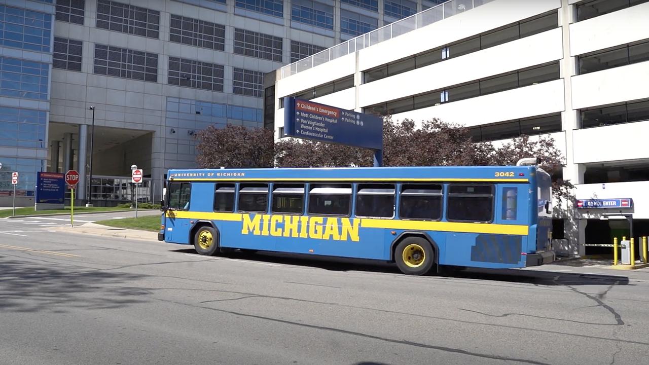 U-M Blue Bus in front of University Hospital